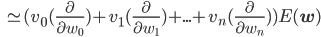 \,\,\,\, \simeq (v_0(\frac{\partial}{\partial w_0})+v_1(\frac{\partial}{\partial w_1})+...+v_n(\frac{\partial}{\partial w_n}))E(\mathbf{w})