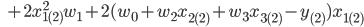 \,\,\,\,\,\,\,+2x_{1(2)}^2w_{1}+2(w_0+w_2x_{2(2)}+w_3x_{3(2)}-y_{(2)})x_{1(2)}