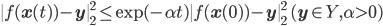 \|f(\mathbf{x}(t)) - \mathbf{y}\|^2_2 \leq \mathrm{exp}(-\alpha t)\|f(\mathbf{x}(0))-\mathbf{y}\|^2_2 \quad (\mathbf{y} \in Y, \alpha>0)