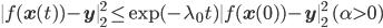 \|f(\mathbf{x}(t)) - \mathbf{y}\|^2_2 \leq \mathrm{exp}(-\lambda_0 t)\|f(\mathbf{x}(0))-\mathbf{y}\|^2_2 \quad (\alpha>0)
