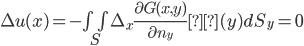 \Delta u(x) = - \iint_S \Delta_x \frac{\partial G(x,y)}{\partial n_y} β(y) dS_y =0