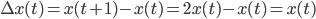 \Delta x(t) = x(t+1)-x(t) = 2x(t)-x(t)=x(t)