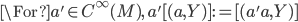 \For a'\in C^\infty(M),\;  a'[(a, Y)] := [(a'a, Y)]