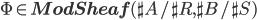 \Phi \in {\bf ModSheaf}(\sh{A}/\sh{R}, \sh{B}/\sh{S})