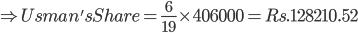 \Rightarrow Usman'sShare = \frac{6}{19}\times 406000=Rs. 128210.52
