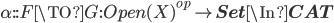 \alpha :: F \TO G : Open(X)^{op} \to {\bf Set} \In {\bf CAT}