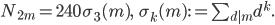 \begin{align}      N_{2m} = 240\,\sigma_3(m),\ \ \ \sigma_k(m):=\sum_{d|m}d^k.  \end{align}