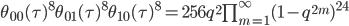 \begin{align}     \theta_{00}(\tau)^8\theta_{01}(\tau)^8\theta_{10}(\tau)^8     =256q^2\prod_{m=1}^\infty (1-q^{2m})^{24} \end{align}