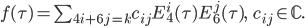 \begin{align}     f(\tau) = \sum_{4i+6j=k} c_{ij}E_4^i(\tau)E_6^j(\tau),\ \ \ c_{ij}\in\mathbb{C}. \end{align}