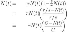 \begin{align} \dot{N}(t)= & rN(t)(1-\frac{s}{r}N(t))\\ = & rN(t)\left(\frac{r/s-N(t)}{r/s}\right)\\ = & rN(t)\left(\frac{C-N(t)}{C}\right)\end{align}