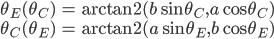 \begin{align} \theta_E(\theta_C) &= \mathrm{arctan2} (b \sin \theta_C, a \cos \theta_C) \\ \theta_C(\theta_E) &= \mathrm{arctan2} (a \sin \theta_E, b \cos \theta_E)  \end{align}