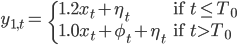 \begin{align} y_{1,t}= & \begin{cases} 1.2x_{t}+\eta_{t} & \text{if }t\leq T_{0}\\ 1.0x_{t}+\phi_{t}+\eta_{t} & \text{if }t>T_{0} \end{cases}\end{align}