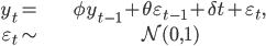 \begin{align} y_{t}= & \phi y_{t-1}+\theta\varepsilon_{t-1}+\delta t+\varepsilon_{t},\\ \varepsilon_{t}\sim & \mathcal{N}(0,1)\end{align}