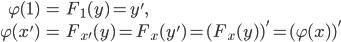 \begin{align}\varphi(1)&=F_1(y)=y', \\ \varphi(x') &= F_{x'}(y)=F_x(y')=(F_x(y) )'=(\varphi(x) )'\end{align}
