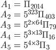 \begin{align}A_1&=\Pi_{2014}\\ A_2&=5^{323}\Pi_{403}\\ A_3&=5^{2\times 64}\Pi_{79}\\ A_4&=5^{3\times 13}\Pi_{16}\\ A_5&=5^{4\times 3}\Pi_{3}\end{align}