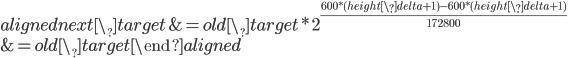 \begin{aligned}     next\_target &= old\_target * 2^{600 * (height\_delta + 1) - 600 * (height\_delta + 1) \over 172800} \\     &= old\_target     \end{aligned}