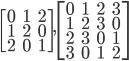 \begin{bmatrix} 0 & 1 & 2 \\ 1 & 2 & 0 \\ 2 & 0 & 1 \end{bmatrix} , \begin{bmatrix} 0 & 1 & 2 & 3 \\ 1 & 2 & 3 & 0 \\ 2 & 3 & 0 & 1 \\ 3 & 0 & 1 & 2 \end{bmatrix}