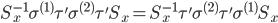 \begin{eqnarray*}\displaystyle S^{-1}_x\sigma^{(1)}\tau'\sigma^{(2)}\tau'S_x=S^{-1}_x\tau'\sigma^{(2)}\tau'\sigma^{(1)}S_x\end{eqnarray*}