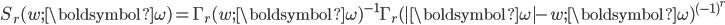 \begin{eqnarray*}\displaystyle S_r(w;{\boldsymbol{\omega}})=\Gamma_r(w;{\boldsymbol{\omega}})^{-1}\Gamma_r(|{\boldsymbol{\omega}}|-w;{\boldsymbol{\omega}})^{(-1)^r}\end{eqnarray*}