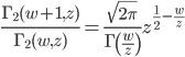 \begin{eqnarray}\displaystyle\frac{\Gamma_2(w+1,z)}{\Gamma_2(w,z)}=\frac{\sqrt{2\pi}}{\Gamma\left(\frac{w}{z}\right)}z^{\frac{1}{2}-\frac{w}{z}}\end{eqnarray}
