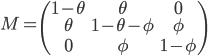 \begin{equation}M=\begin{pmatrix} 1-\theta & \theta & 0  \\\\ \theta & 1-\theta-\phi  & \phi \\\\ 0 & \phi & 1-\phi  \end{pmatrix} \end{equation}