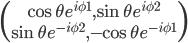 \begin{pmatrix} \cos{\theta} e^{i \phi1}, \sin{\theta} e^{i\phi2} \\ \sin{\theta} e^{-i\phi2}, -\cos{\theta} e^{-i\phi1} \end{pmatrix}