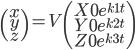 \begin{pmatrix} x \\ y \\ z \end{pmatrix} = V \begin{pmatrix} X0 e^{k1t} \\ Y0 e^{k2t} \\ Z0 e^{k3t} \end{pmatrix}
