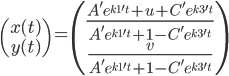 \begin{pmatrix} x(t) \\ y(t) \end{pmatrix} = \begin{pmatrix} \frac{A'e^{k1't}+u+C'e^{k3't}}{A'e^{k1't}+1-C'e^{k3't}}\\ \frac{v}{A'e^{k1't}+1-C'e^{k3't}}\end{pmatrix}