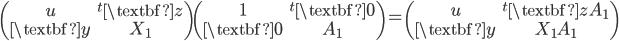 \begin{pmatrix}u&^{t}\textbf{z}\\ \textbf{y}&X_1\end{pmatrix}\begin{pmatrix}1&^{t}\textbf{0}\\ \textbf{0}&A_1\end{pmatrix}=\begin{pmatrix}u&^{t}\textbf{z}A_1\\ \textbf{y}&X_1A_1\end{pmatrix}