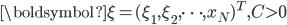 \boldsymbol{\xi} = (\xi_1, \xi_2, \cdots, x_N)^T, C > 0