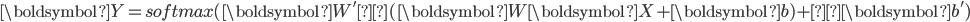 \boldsymbol{Y} = softmax(\boldsymbol{W'}φ(\boldsymbol{W}\boldsymbol{X} + \boldsymbol{b}) +\boldsymbol{b'})