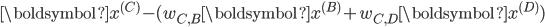 \boldsymbol{x^{(C)}} - (w_{C, B}\boldsymbol{x^{(B)}} + w_{C, D}\boldsymbol{x^{(D)}})