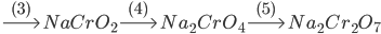\buildrel {(3)} \over\longrightarrow NaCr{O_2}\buildrel {(4)} \over\longrightarrow N{a_2}Cr{O_4}\buildrel {(5)} \over\longrightarrow N{a_2}C{r_2}{O_7}