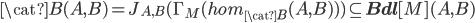 \cat{B}(A, B) = J_{A, B}( \Gamma_M(hom_{\cat{B}}(A,B)) ) \subseteq {\bf Bdl}[M](A, B)