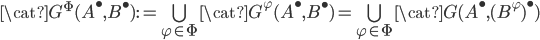 \cat{G}^\Phi(A^\bullet, B^\bullet) := \bigcup_{\varphi\in \Phi}\cat{G}^\varphi(A^\bullet, B^\bullet) = \bigcup_{\varphi\in \Phi}\cat{G}(A^\bullet, (B^\varphi)^\bullet)