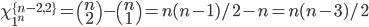 \chi_{1^n}^{\{n-2,2\}}=\left( \begin{array}{c}  n \\  2 \end{array} \right)-\left( \begin{array}{c}  n \\  1 \end{array} \right)=n(n-1)/2-n=n(n-3)/2