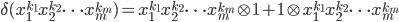 \delta(x_1^{k_1}x_2^{k_2}\cdots x_m^{k_m})=x_1^{k_1}x_2^{k_2}\cdots x_m^{k_m}\otimes1+1\otimes x_1^{k_1}x_2^{k_2}\cdots x_m^{k_m}