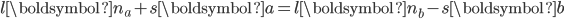 \displaystyle   l \boldsymbol{n}_a + s \boldsymbol{a}   = l \boldsymbol{n}_b - s \boldsymbol{b}