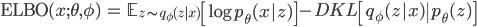 \displaystyle \begin{align*} \mathrm{ELBO}(x; \theta, \phi) &= \mathbb{E}_{z \sim q_\phi (z|x)} \left[ \log p_\theta(x|z) \right] - D_\mathrm{KL} \left[ q_\phi(z|x) \| p_\theta(z) \right] \end{align*}