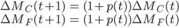 \displaystyle \begin{eqnarray} \Delta M_C(t+1) & = & (1+p(t))\Delta M_C(t) \\ \Delta M_F(t+1) & = & (1+p(t))\Delta M_F(t) \\ \end{eqnarray}