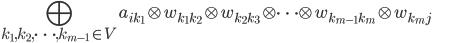 \displaystyle \bigoplus_{k_1,k_2,\dots,k_{m-1} \in V} a_{ik_1}\otimes w_{k_1k_2}\otimes w_{k_2k_3}\otimes \dots \otimes w_{k_{m-1}k_m} \otimes w_{k_m j}\hspace{20mm}