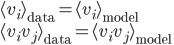 \displaystyle \langle v_i\rangle_{\mathrm{data}}=\langle v_i\rangle_{\mathrm{model}} \\ \displaystyle \langle v_iv_j\rangle_{\mathrm{data}}=\langle v_iv_j\rangle_{\mathrm{model}}