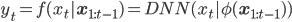 \displaystyle y_t=f(x_t|\mathbf{x}_{1:t-1})=DNN(x_t|\phi(\mathbf{x}_{1:t-1}))