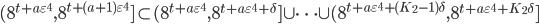 \displaystyle (8^{t+a\varepsilon^4},8^{t+(a+1)\varepsilon^4}]\subset (8^{t+a\varepsilon^4},8^{t+a\varepsilon^4+\delta}]\cup\cdots\cup(8^{t+a\varepsilon^4+(K_2-1)\delta},8^{t+a\varepsilon^4+K_2\delta}]