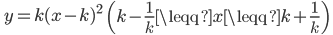 \displaystyle \; y=k(x-k)^2 \; \; \left(k-\frac{1}{k} \leqq x \leqq k+\frac{1}{k} \right)\;