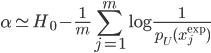 \displaystyle \alpha \simeq H_0 - \frac{1}{m}\sum_{j=1}^m\log\frac{1}{p_U(x_j^{\exp})}