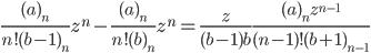 \displaystyle \frac{(a)_n}{n!(b-1)_n }z^n-\frac{(a)_n}{n!(b)_n }z^n=\frac{z}{(b-1)b}\frac{(a)_n z^{n-1}}{(n-1)!(b+1)_{n-1}}