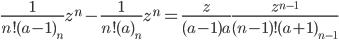 \displaystyle \frac{1}{n!(a-1)_n }z^n-\frac{1}{n!(a)_n }z^n=\frac{z}{(a-1)a}\frac{z^{n-1}}{(n-1)!(a+1)_{n-1}}