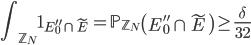 \displaystyle \int_{\mathbb{Z}_N}\mathbf{1}_{E_0''\cap \widetilde{E}} = \mathbb{P}_{\mathbb{Z}_N}\left(E_0''\cap \widetilde{E}\right) \geq \frac{\delta}{32}