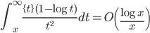 \displaystyle \int_x^{\infty}\frac{\{ t \} (1-\log t)}{t^2}dt = O\left( \frac{\log x}{x} \right)
